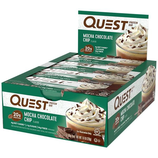 Quest Nutrition | Protein Bars - 12 Bars-Mocha Choc Chip