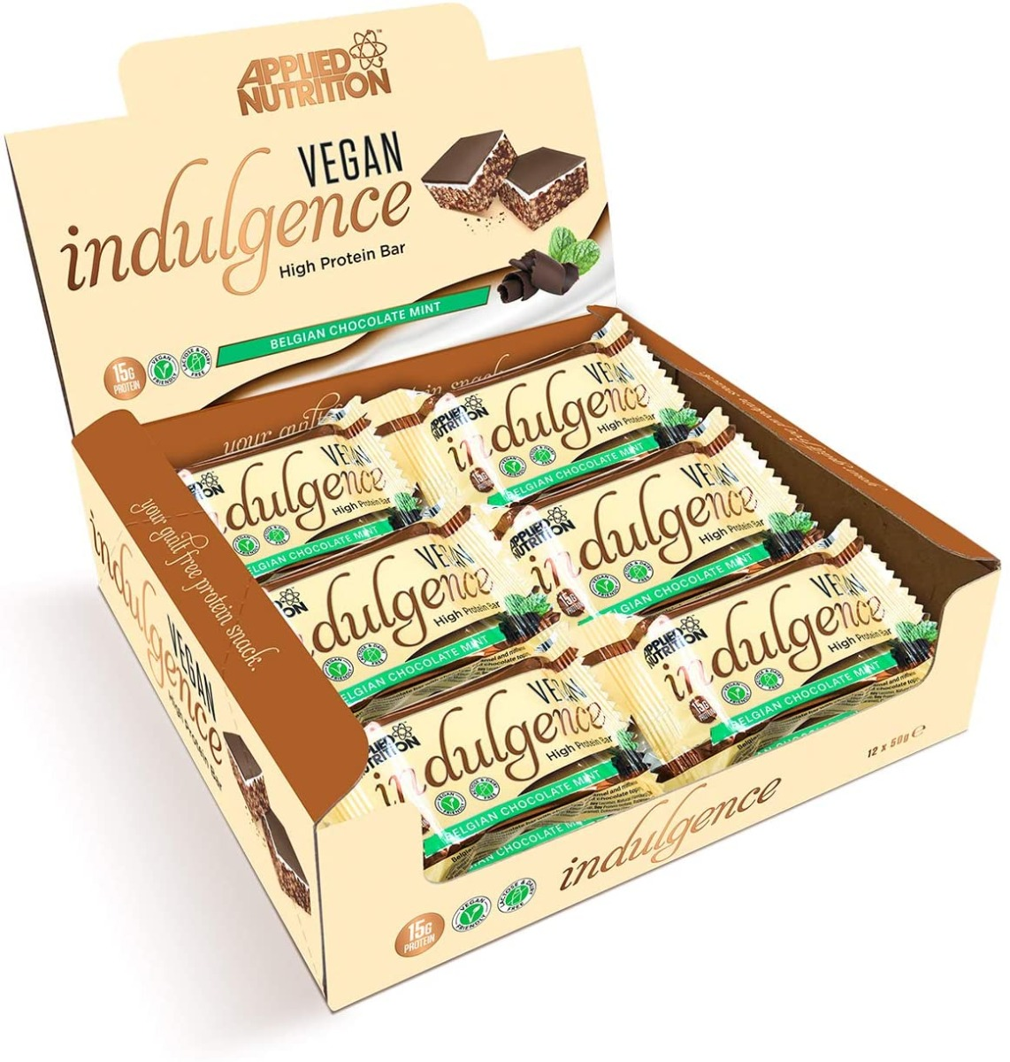 *short Dated* Vegan Indulgence High Protein Bar 12 Bars - Belgian Choc Mint (bbe 12/2020) Low Price Applied Nutrition
