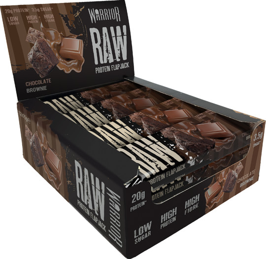 Warrior Raw Protein Flapjack-Chocolate Brownie-12 bars Bars Supplements