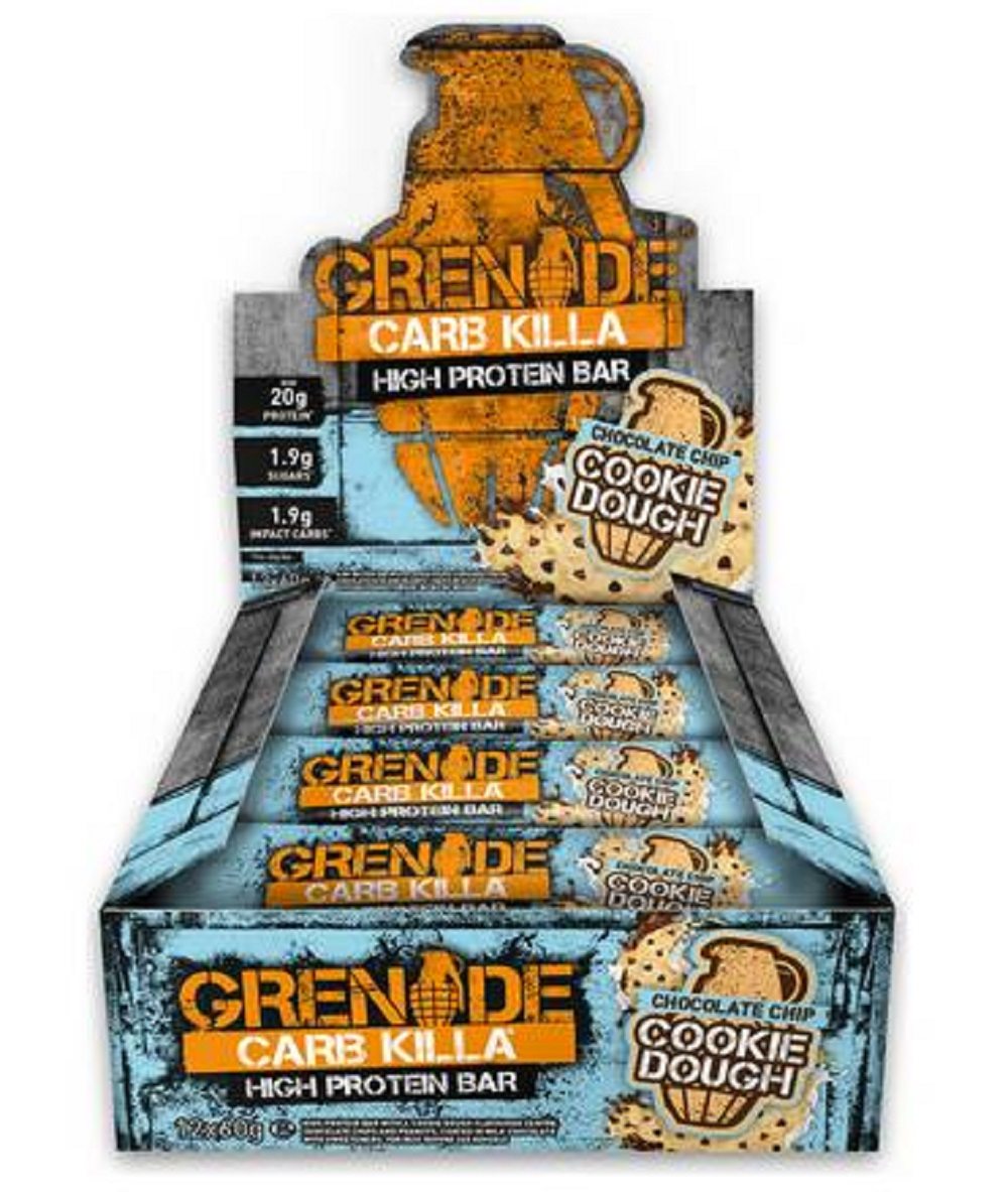 Carb Killa - 12 Bars-chocolate Chip Cookie Dough Protein Bars Grenade