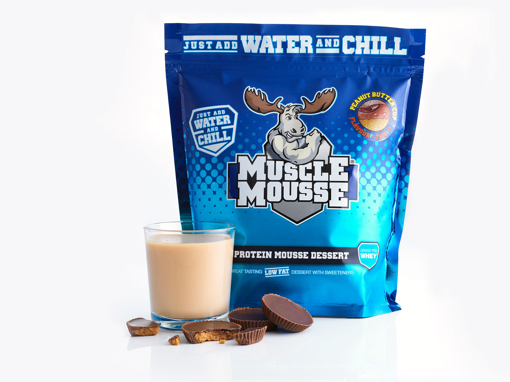 *late Dated June 18* Muscle Mousse - 750g-choc Peanut Caramel Bodybuilding Warehouse Genetic Supplements