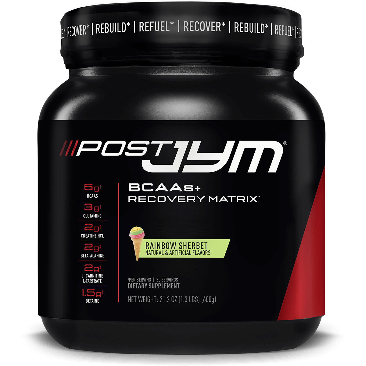 JYM Post-Jym BCAAs+ Recovery Matrix (30 Servings) - Rainbow Sherbet Bodybuilding Warehouse Supplement Science
